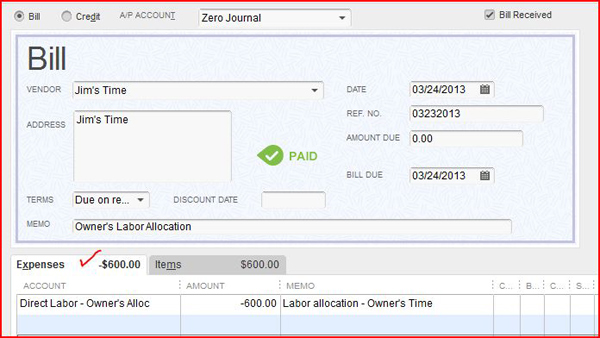 zero journal enter expense tab