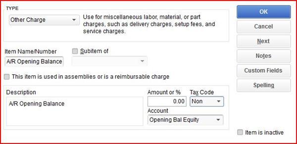 ar opening balance equity item